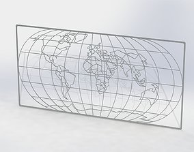 World map 3D printable model