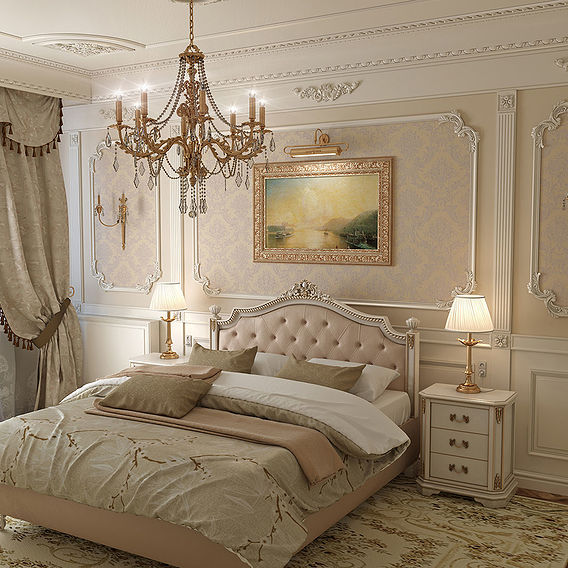 Bedroom in classic style.