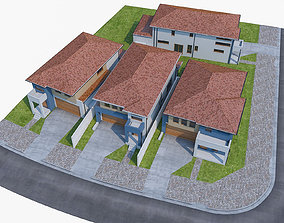 Neighborhood Houses Set - 4 Pack 3D model