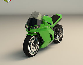 Low Poly Motorcycle 04 3D model game-ready