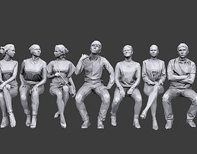 3D model game-ready Lowpoly People Sitting Pack Volume 5