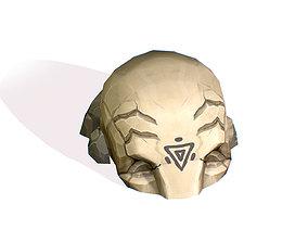 Handpaint Cartoon Stone Memorial Totem Symbol 3D asset