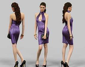 Hot girl in latex dress 3D asset