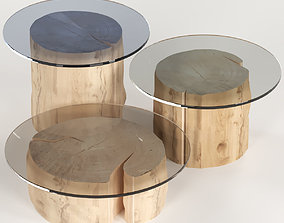 3D 3 round coffee table stump with glass top