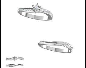 3D print model Unique bridal set rings cad Diamond 1