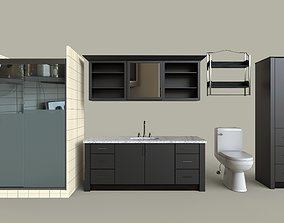 Dark Modern Bathroom Set 3D asset
