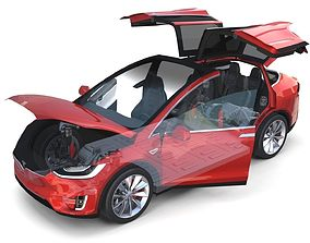 Tesla Model X Red with interior and chassis