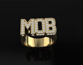 MOB text diamond ring for 3D printable model