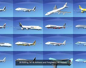 3D 26 Boeing 747-8I Airliners and Freighters