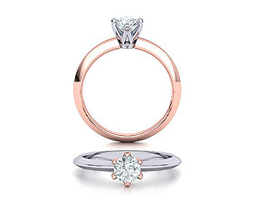 Solitaire 6claw ring with 5mm stone 3dmodel classic-ring