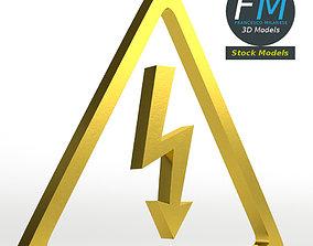 High voltage electric shock symbol 3D model