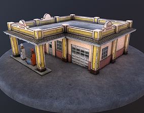 Old gas station and old gas pump 3D asset