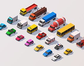 Polygonia Low Poly City Cars Pack 3D asset game-ready