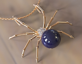 Spider with pearl pendant and brooch 3D printable model