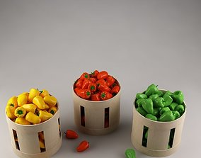 Baskets with vegetables 01 peppers 3D
