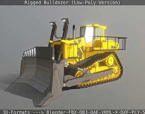 3D model Bulldozer Rigged and Animated- Low-Poly Version
