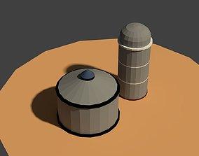 Low Poly Farm Silos 3D asset