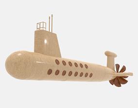Wooden Submarine 3D asset