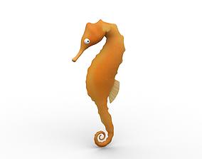 3D model VR / AR ready Cartoon Sea Horse - Rigged