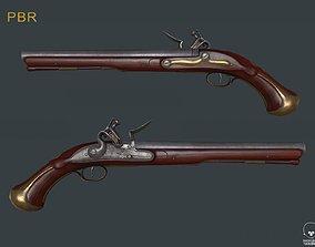 Old Worn Farmer Flintlock Pistol 3D model