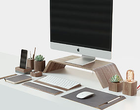 iMac and Grovemade desktop 3D model