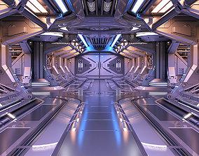 Sci - Fi Modular Corridor Engine section 3D