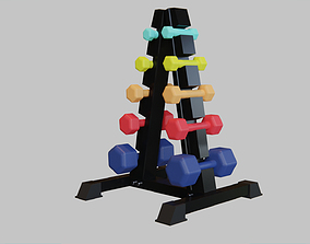 3D asset Dumbbell Holder with Rubber Hex Dumbbells - Gym