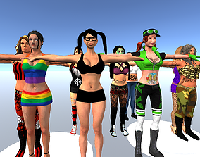 15 Wrestling Woman Characters Pack Low-poly 3D rigged