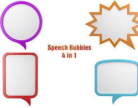 3D model Speech Bubbles 4 in 1