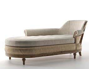 3D Deconstructed French Victorian Left Arm Chaise