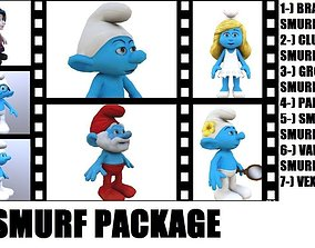 Smurfs Package 3D model animated