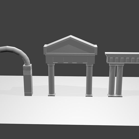 3 Greek Ancient Architecture Base Mesh VR / AR / low-poly 3D model
