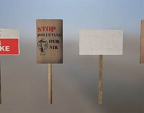 Protest Signs PBR Game Ready 3D model