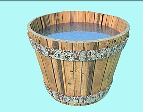Wooden Bucket 3D model low-poly
