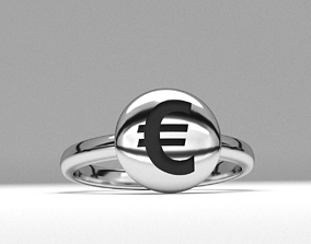 new fashion round euro money sign jewelry ring 3d 1