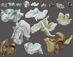 crumpled paper ball 3D model waste