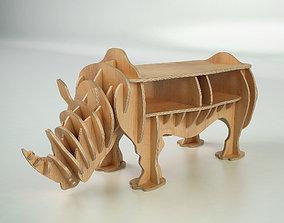CNC cutting templates for plywood rhinoceros bookshelf 3D
