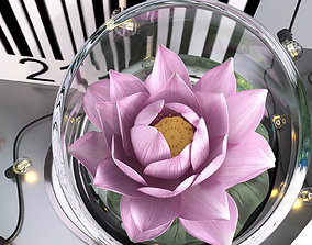 3D Pink water lily lotus plants vase with string led