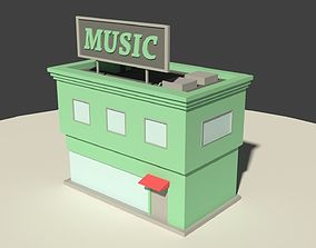 3D model Low Poly Music Store