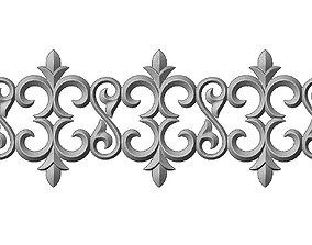 3D printable model Floral scroll pattern relief strip