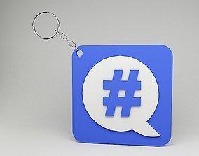 Hash tag 3D Printable Keychain