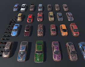 3D asset Pack Of wrecked rusted Low Poly 25 Sports Cars 3
