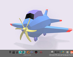 Low Poly stylized aircraft 3d model realtime