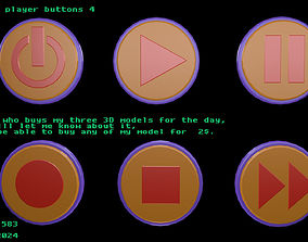 3D asset Low poly player buttons 4