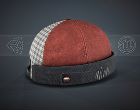 Red Jeans Brimless Cap 3D model