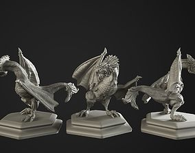 3D printable model dragon and chicken