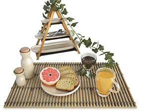 Breakfast Toast and Fruit 3D model
