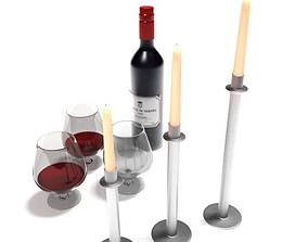 Wine And Candle Sticks 3D model