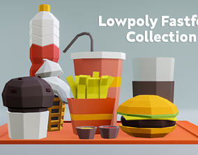 3D asset Lowpoly Fastfood Collection