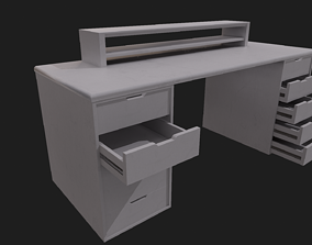 3D model White Wooden Desk - Clean and Dirty Versions